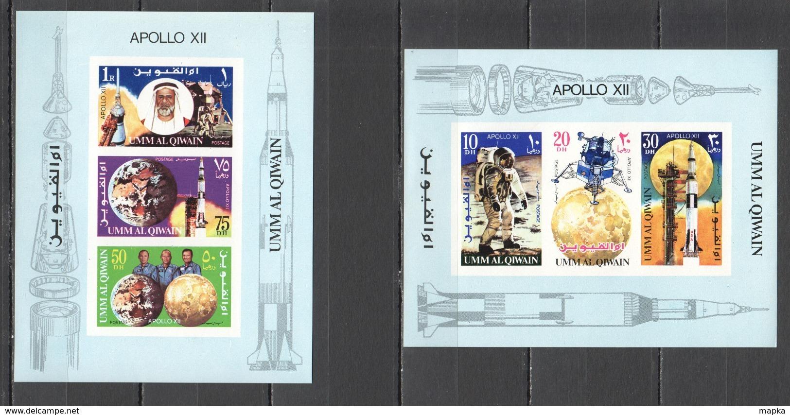 B647 !!! IMPERFORATE  UMM AL QIWAIN SPACE APOLLO 12 2BL MNH - Raumfahrt