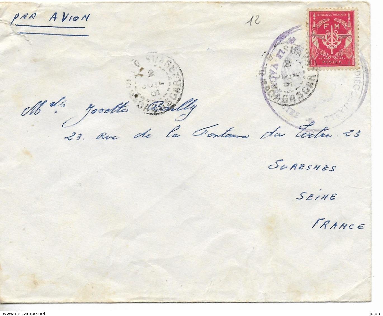 Cachet  DIEGO SUAREZ  1961    Sur  Enveloppe PAR AVION Vers La France- TIMBRE F.M. Rouge + CACHET VIOLET   Voir Scan - Madagascar (1889-1960)