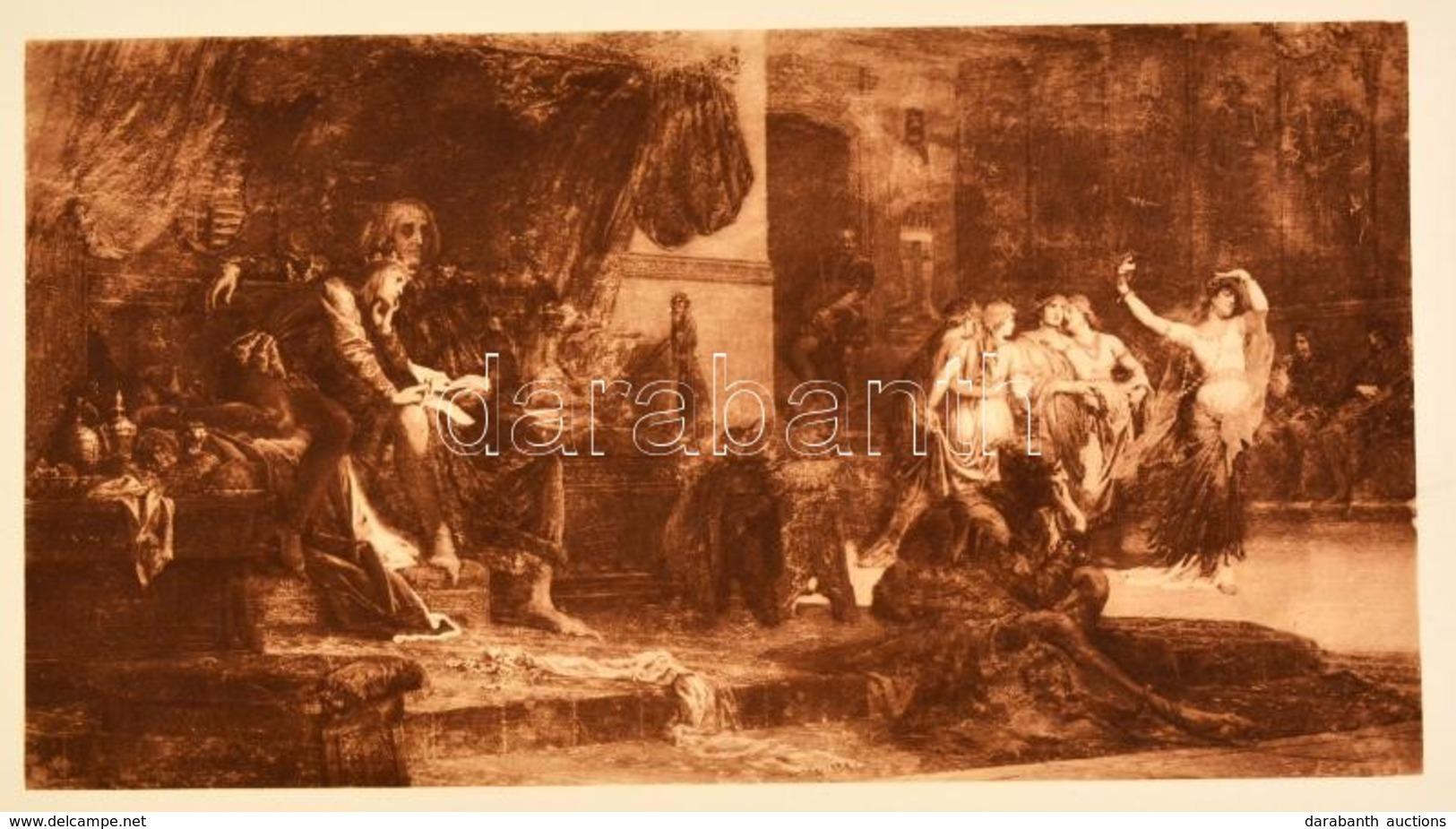 Régi Reprodukció, Székely Bertalan: V. László és Cillei, Litográfia, Papír, 20×26 Cm - Engravings