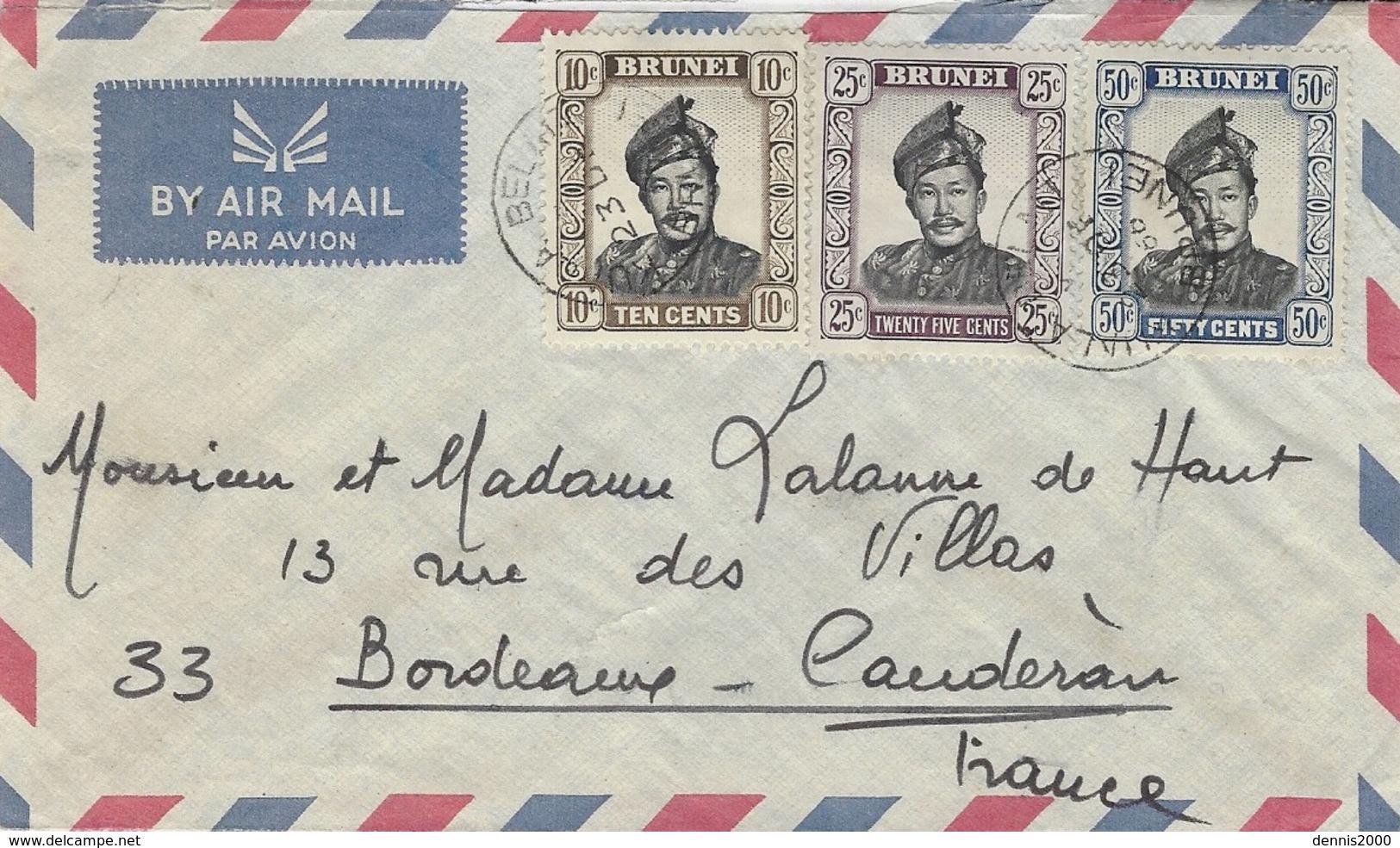 1966 - Enveloppe Par Avion De Kuala Belait  Affr. à 85 Cents Pour La France - Brunei (1984-...)