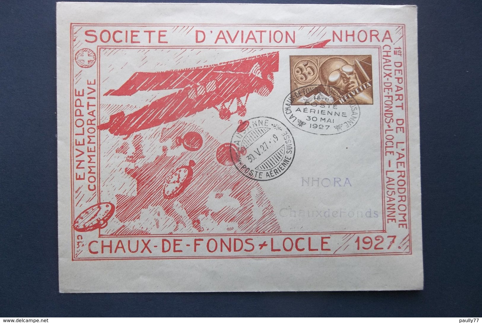 Helvetia: 1927 Aerienne Postal Envelope To ChaudeFonds (#EV4) - Switzerland