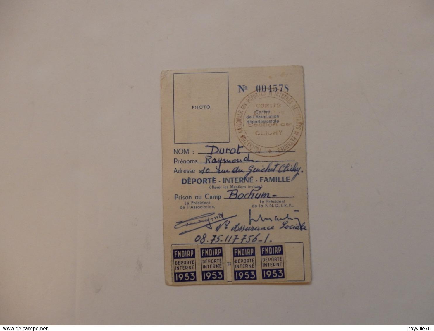 Fédération Nationale Des Déportés Mr Durot Raymond (prison De Bochum Allemagne) 10, Rue Du Guichet à Clichy (92). - Documenti