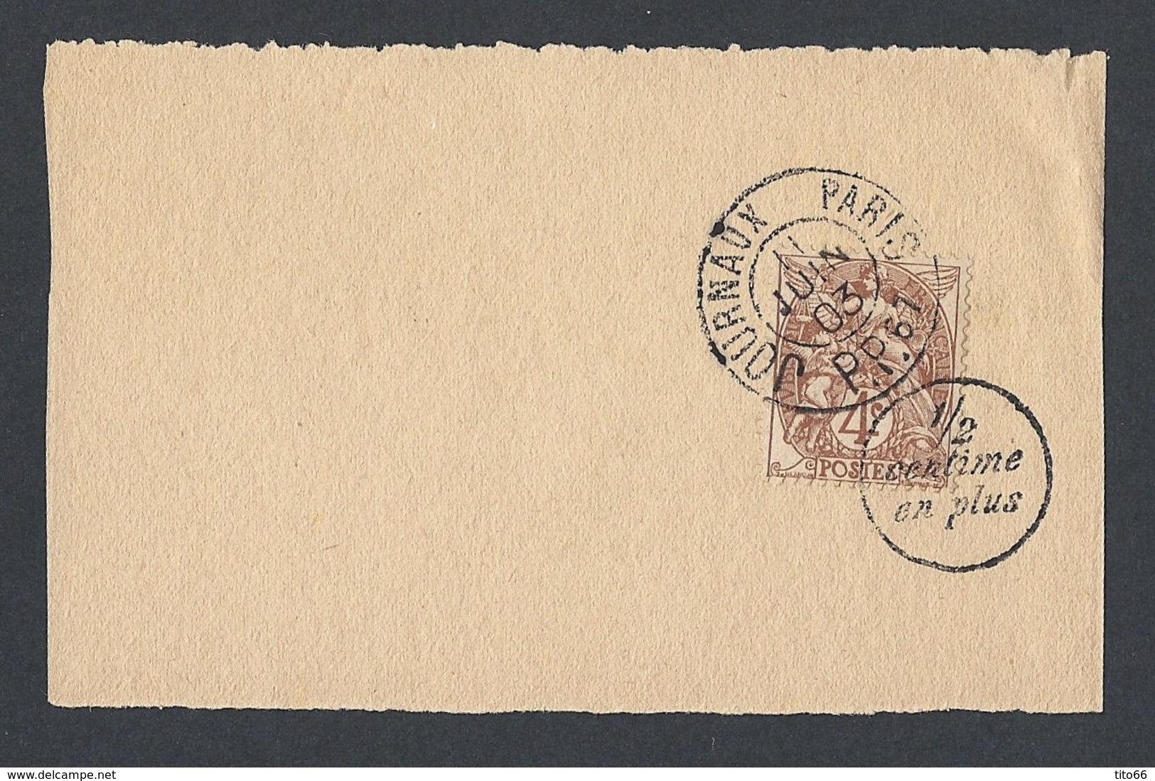 N° Y/T 110 Type Blanc Sur Fragment Bande Journal Oblitéré 11/6/1903 Journaux PP 67 MP 1/2 Centime En Plus - Marcophilie (Timbres Détachés)