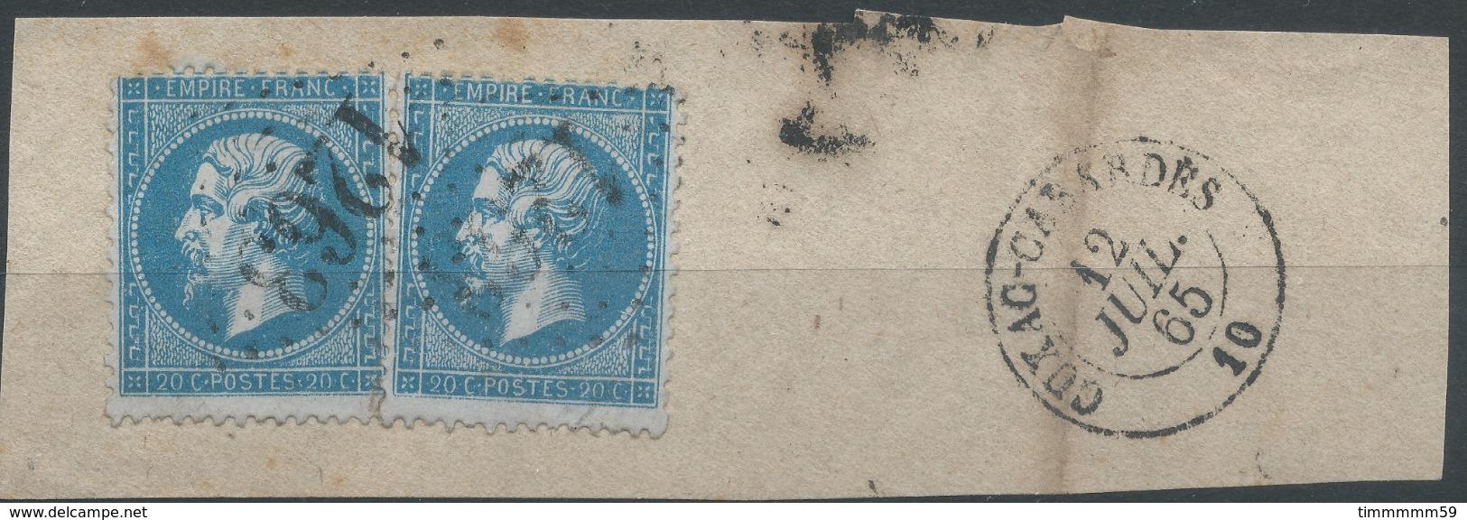 Lot N°51566  Deux N°22/fragment, Oblit GC 1263 Cuxac-Cabardès, Aude (10), Ind 8 - 1862 Napoleone III