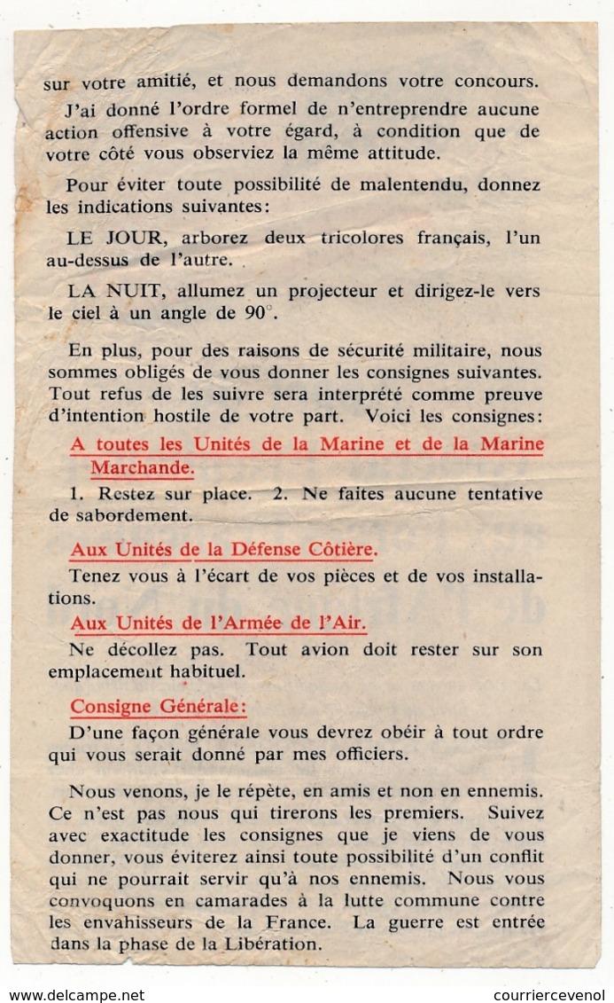 USA - FRANCE - Tract Américain Largué Sur AFN - Appel Du Général Eisenhower Aux Forces Françaises De L'AFN - Documents Historiques