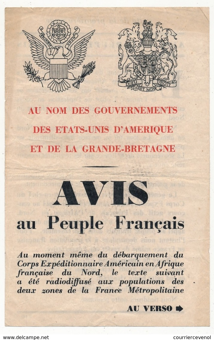 USA - FRANCE - Tract Américain Largué Par Avion - Avis Au Peuple Français - Documents Historiques