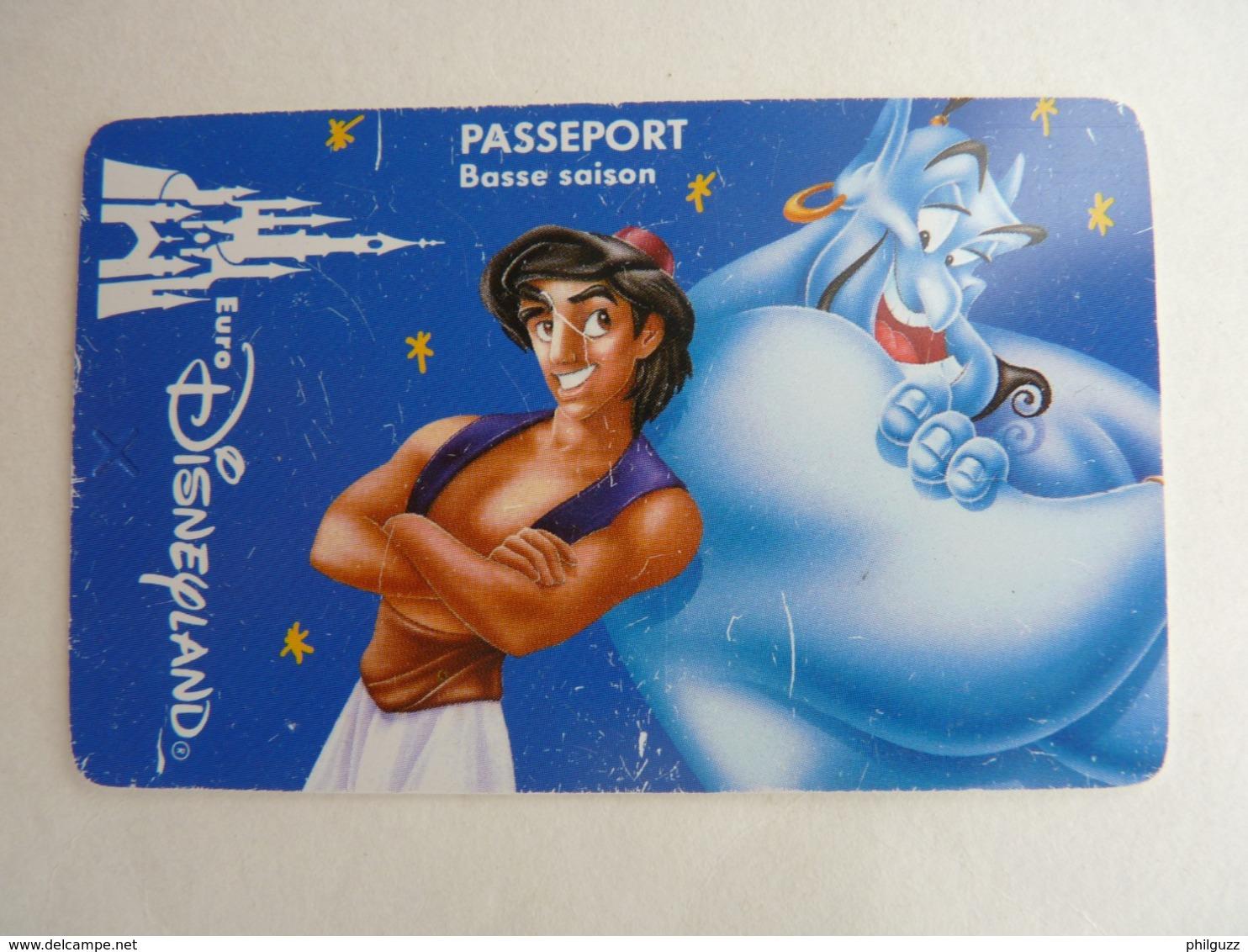 BILLET D'ENTREE CARTE PASS WALT DISNEY PARC EURODISNEY 020 DISNEYLAND ALADIN Basse Saison - Tickets - Entradas