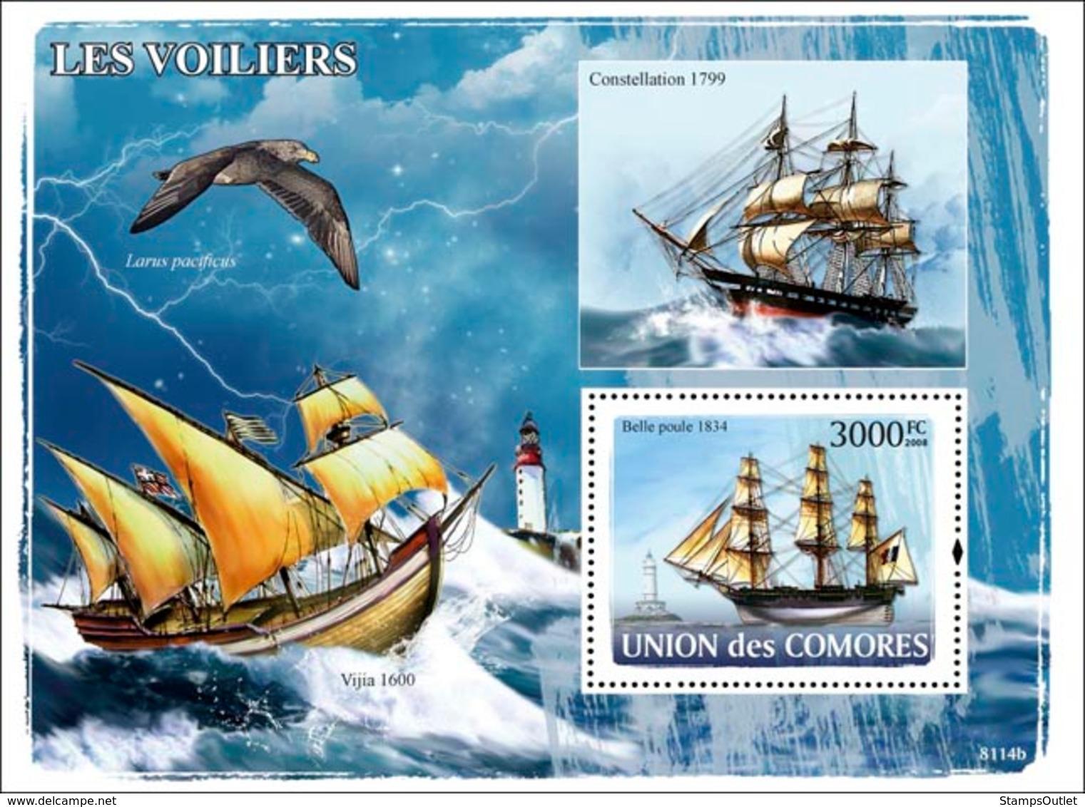 COMORES 2008 - Sail Ships, Lighthouses. YT 130, Mi 1922/BL444, Sc 1024 - Comores (1975-...)
