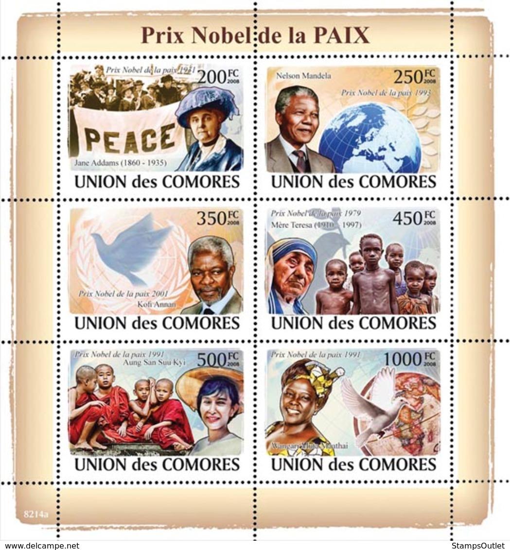 COMORES 2008 - Nobel Prix Of Peace (J.Adams, Nelson Mandela, Kofi Annan..). YT 1393-1398, Mi 2072-2077, Sc 1061 - Comores (1975-...)