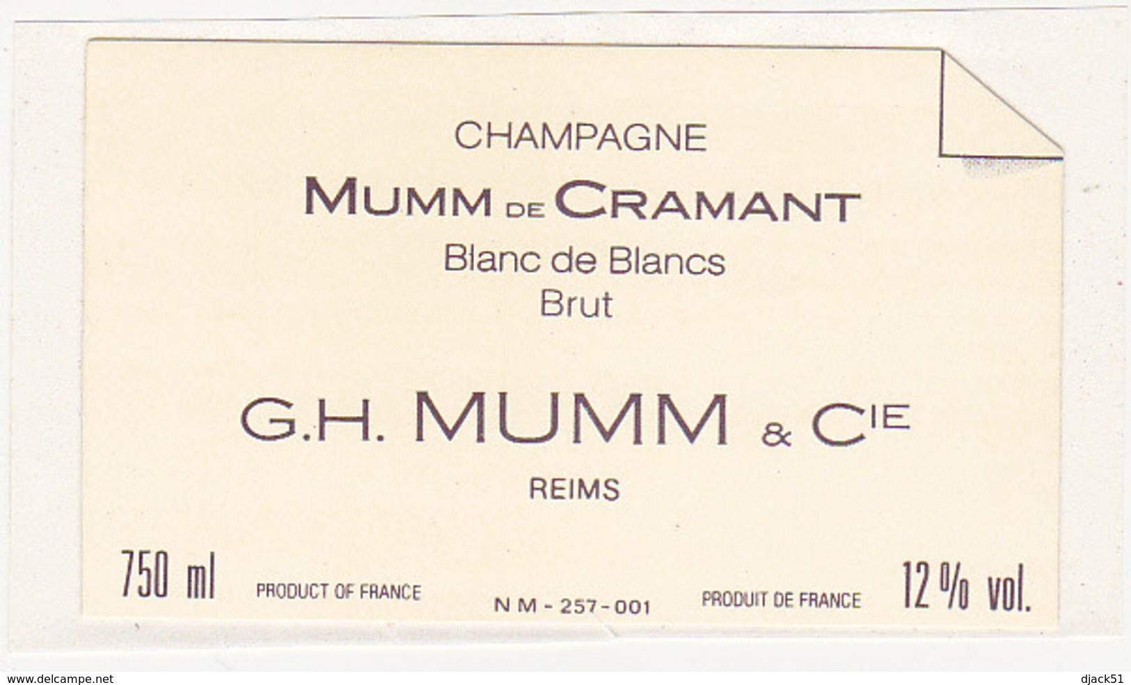 Etiquette Champagne MUMM De CRAMANT Blanc De Blancs G.H. MUMM & Cie à Reims (51) / 750 Ml - Champagne