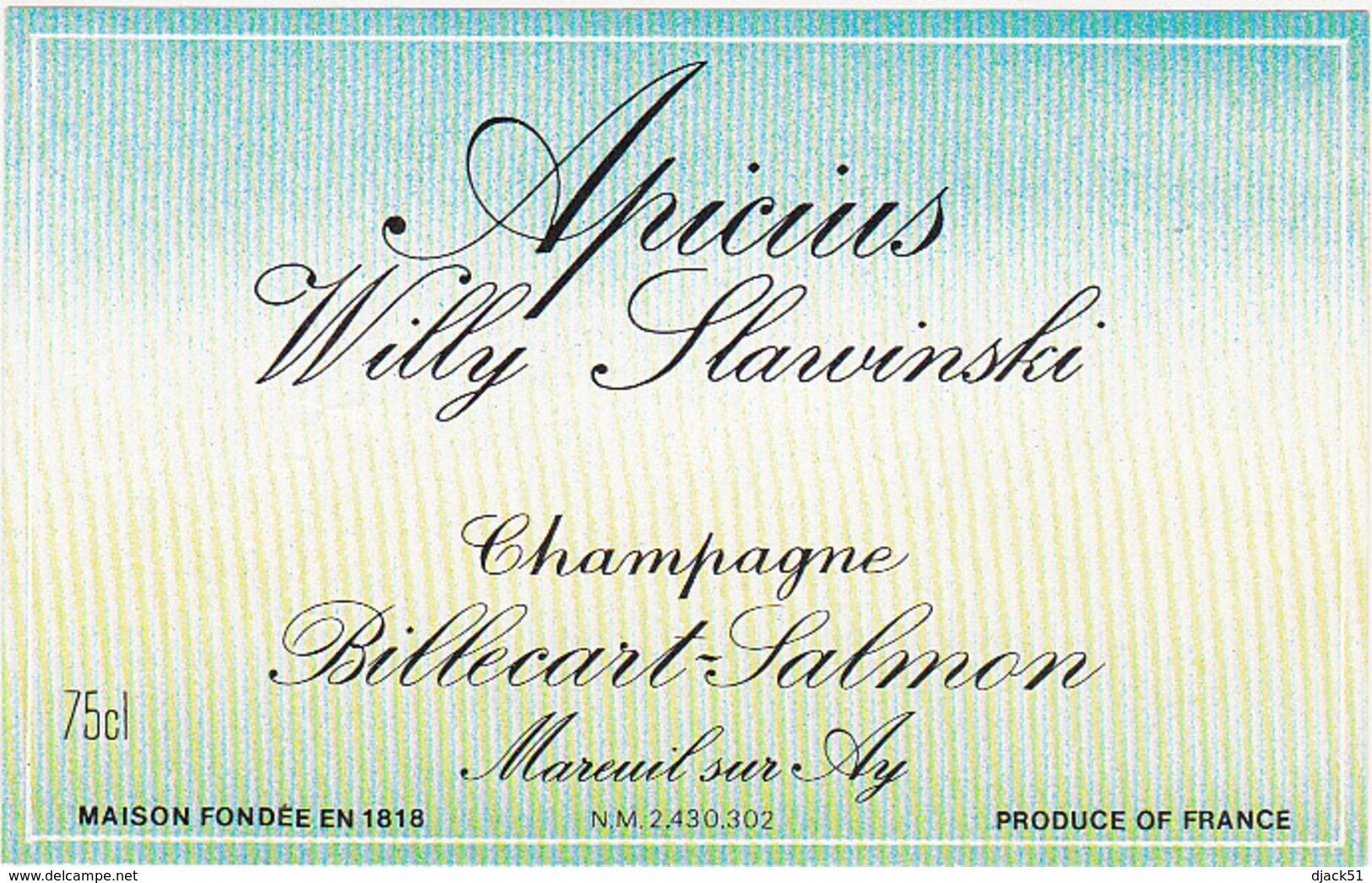 Etiquette Champagne Apicius Willy Slawinski - Billecart-Salmon à Mareuil-sur-Ay (51) / 75 Cl - Champagne