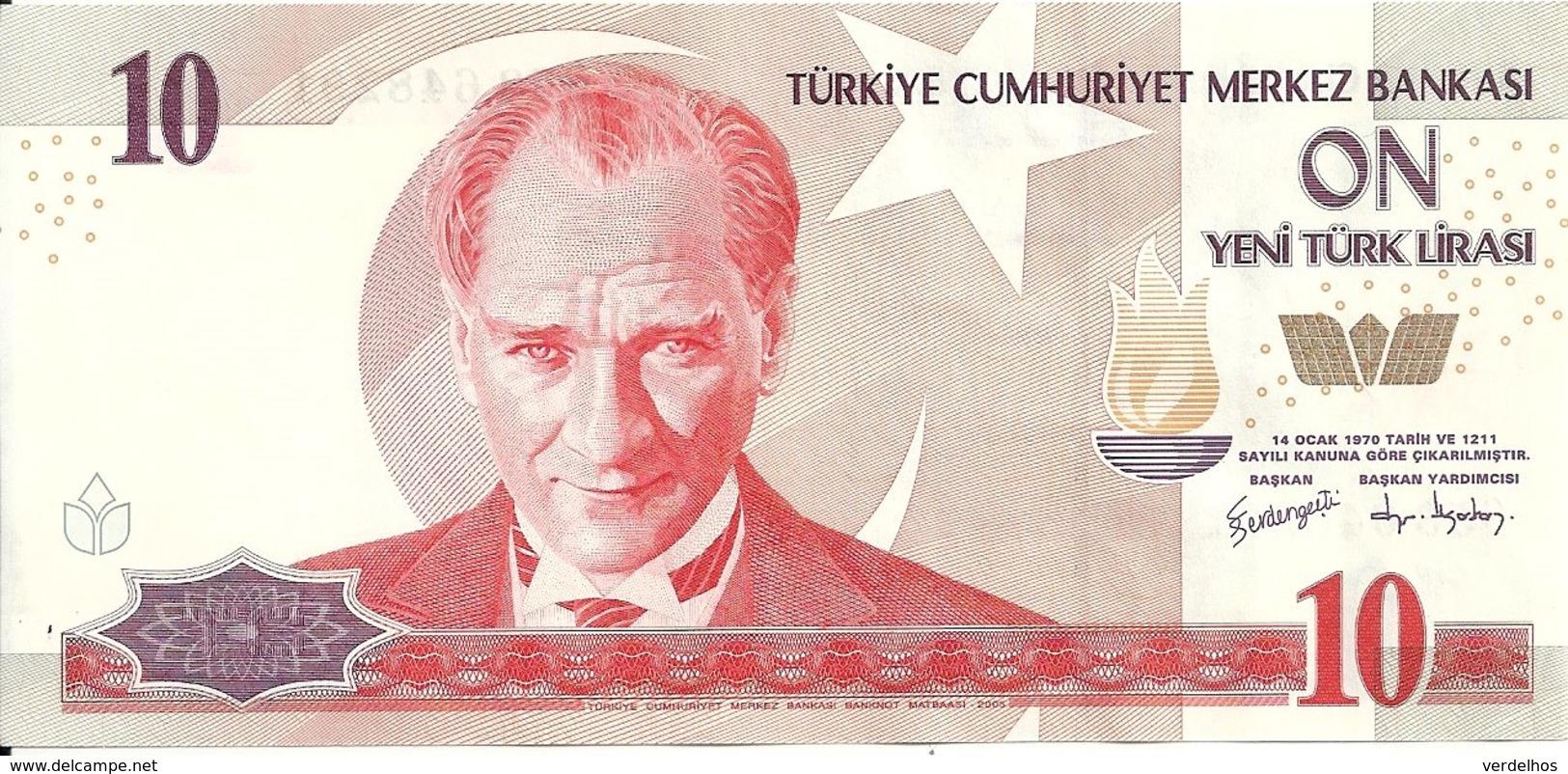 TURQUIE 10 NEW LIRA 2005 AUNC P 218 - Turquie