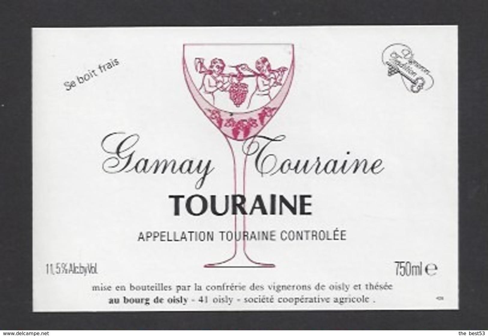 Etiquette De Vin Touraine Gamay 750 Ml  - Confrérie Des Vignerons De Oisly  (41)  -  Thème Porteurs Grappe De Raisin - Other