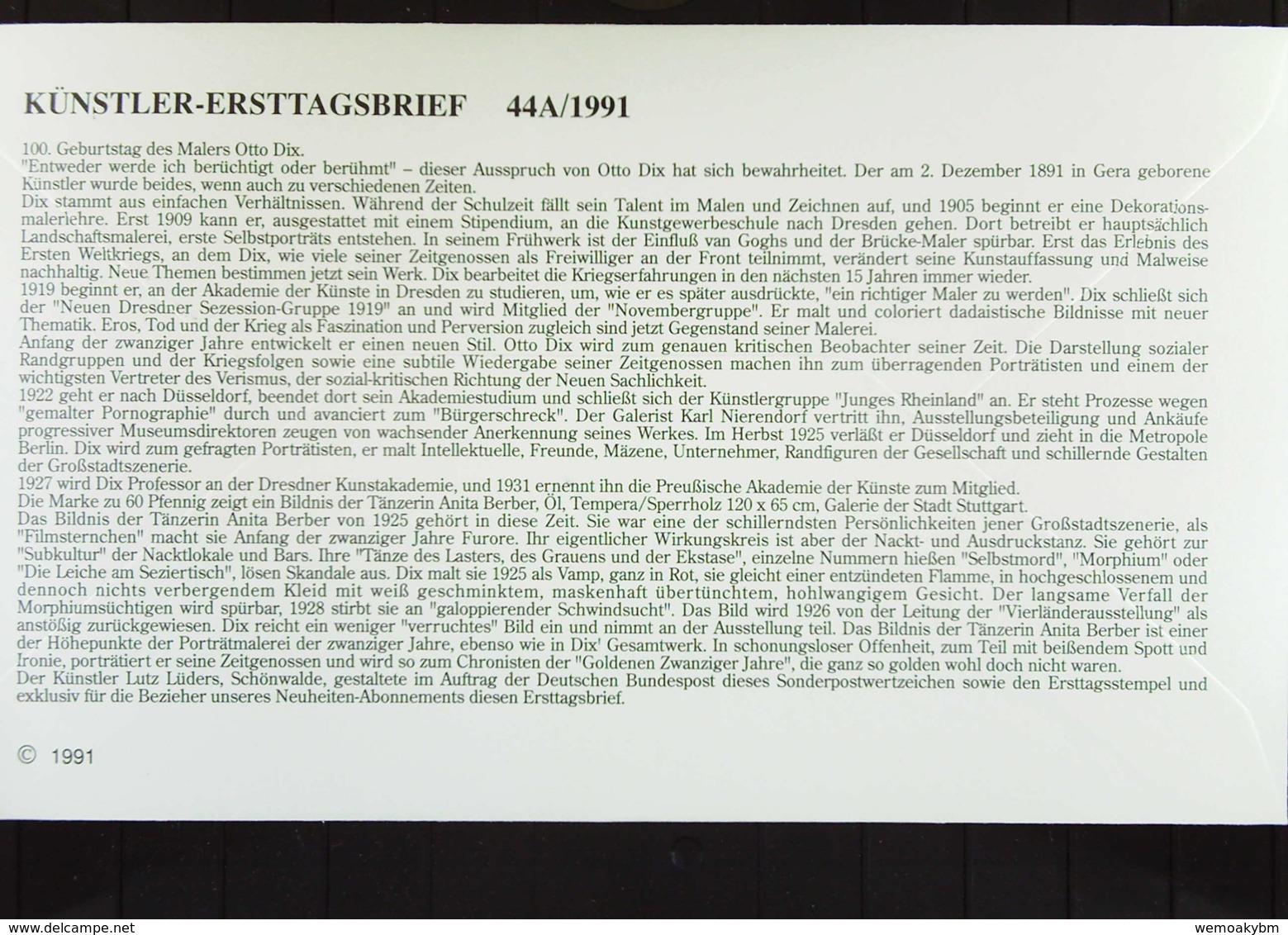 """BRD: Künstler-FDC-Brief Mit 60 Pf Gemälde Otto Dix Mit PF: """"kurze 1 Von 1925"""" SoSt. Berlin  5.11.91 Knr: 1572 I (PF) - Storia Postale"""