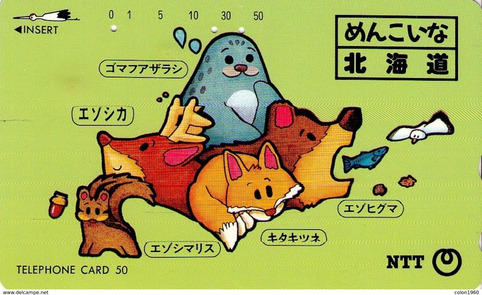 JAPON. Animal Map Of Hokkaido. 06/1995. JP-431-180 C. (093) - Sport