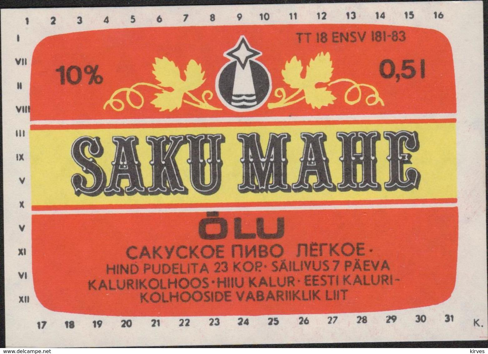 "Beer Label SAKU MAHE  Kolkhoz ""Hiiu Kalur"" Soviet  Estonia - Beer"
