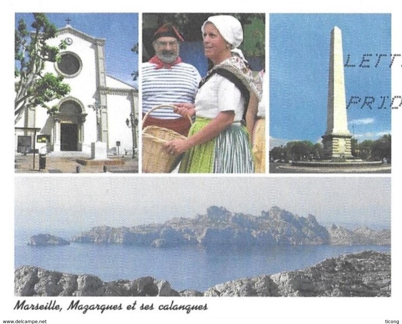 MARSEILLE BOUCHES DU RHONE - LE QUARTIER MAZARQUES, EGLISE, FOLKLORES, MONUMENT, CALANQUE - PAP ENTIER POSTAL 2008 - Ferien & Tourismus
