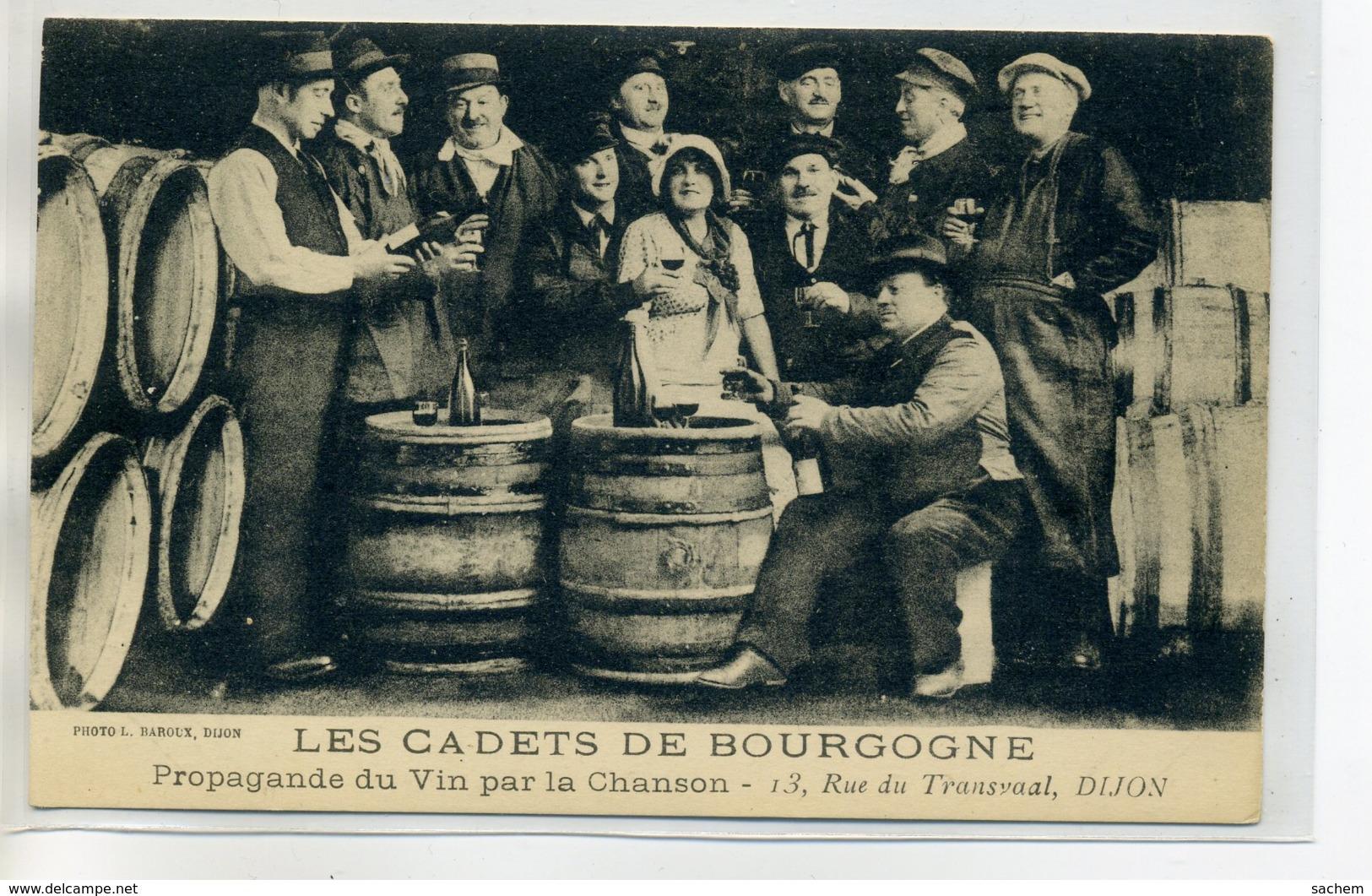 """21 DIJON  """" Les Cadets De Bourgogne"""" 13 Rue Du TRansvaal """" Propagande Du Vin Par La Chanson """"     /D03-2017 - Dijon"""