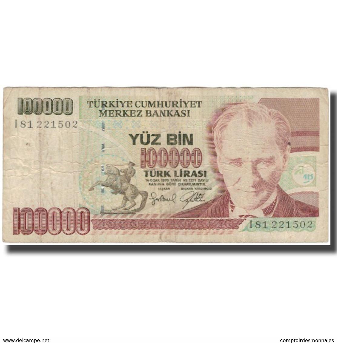 Billet, Turquie, 100,000 Lira, 1970, KM:205, B+ - Turchia