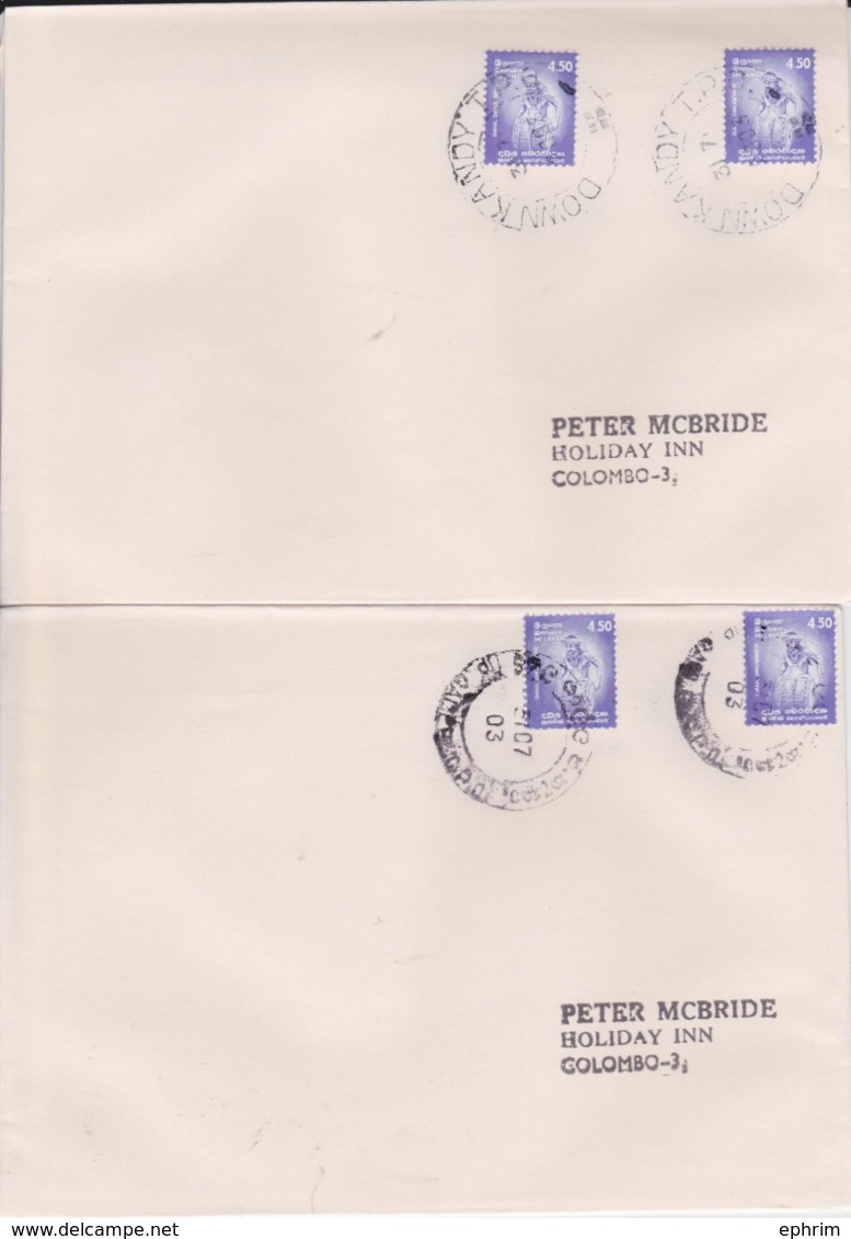 SRI LANKA CEYLON CEYLAN Lot 2 Enveloppes Kandy + Galle TPO 2003 Travelling Post Office Railway Cachet Poste Ferroviaire - Sri Lanka (Ceylon) (1948-...)