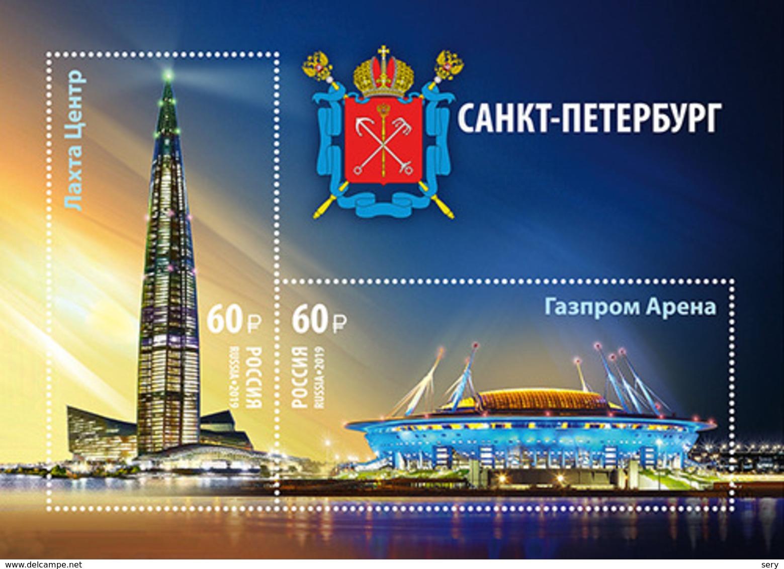 """Russia 2019 SS MNH Skyscraper """"Lakhta Center"""", Headquarters Of The Oil And Gas Company """"Gazprom"""". Stadium Gazproom Arena - Architettura"""