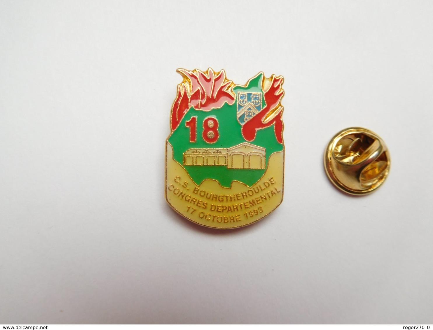 Superbe Pin's , Sapeurs Pompiers De Bourgtheroulde , Congrés Départemental 1992 , Eure - Bomberos