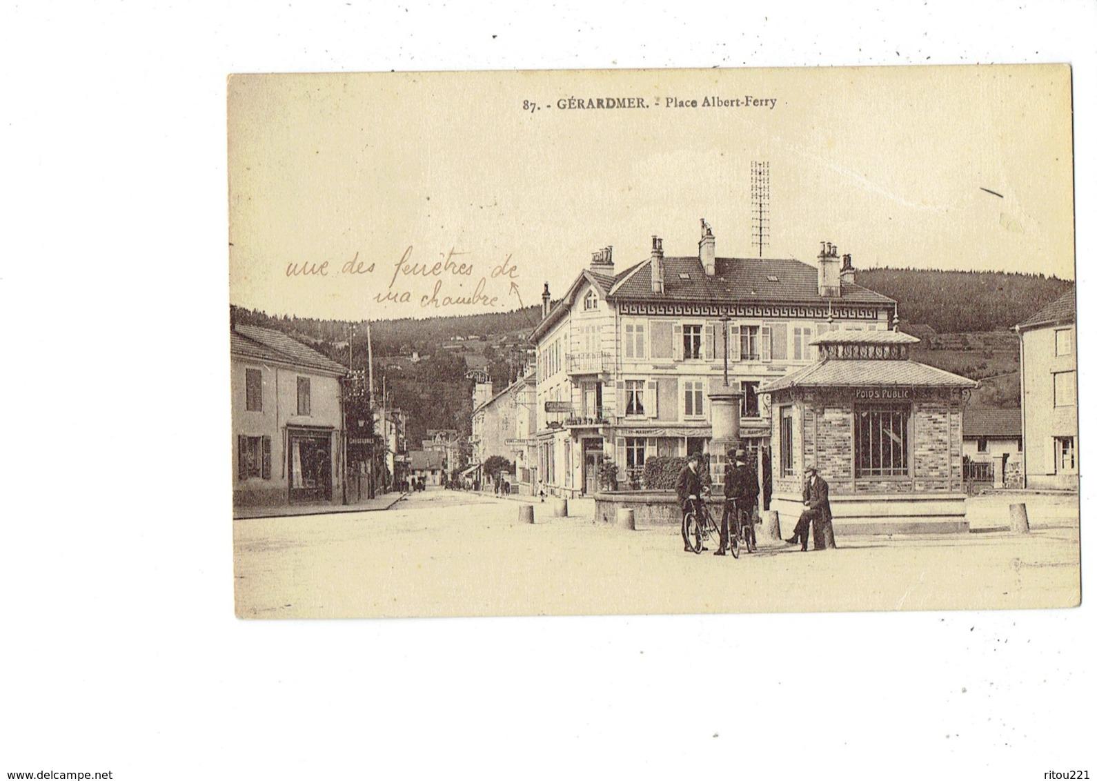 Cpa - 88 - Gerardmer - Place Albert Ferry - N°87 - Animation Poids Public Café Bière MAXEVILLE -  BICYCLETTE - Gerardmer