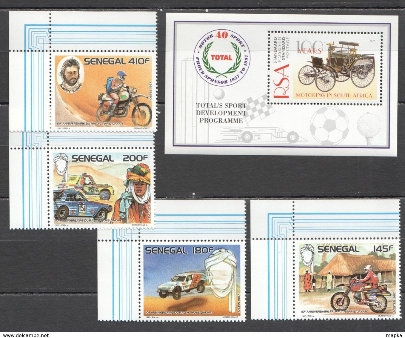 B689 1987,1997 RSA SENEGAL TRANSPORTATION TRAINS CARS MOTORING SOUTH AFRICA RALLY PARIS-DAKAR 1SET+1BL MNH - Cars