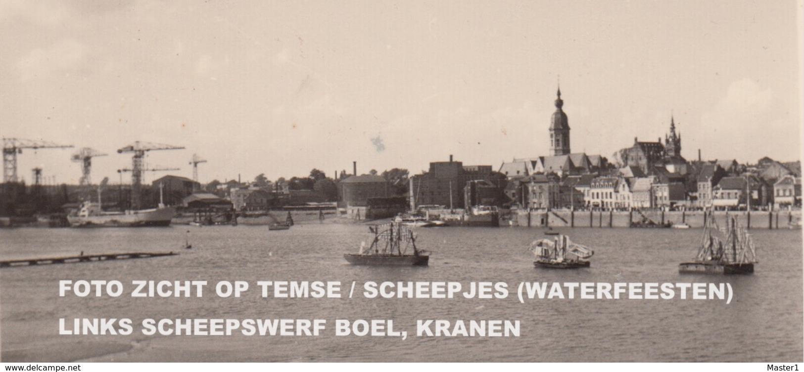 FOTO ZICHT OP TEMSE / JAREN 50 / SCHEEPJES (WATERFEESTEN) / LINKS SCHEEPSWERF BOEL, KRANEN - Temse
