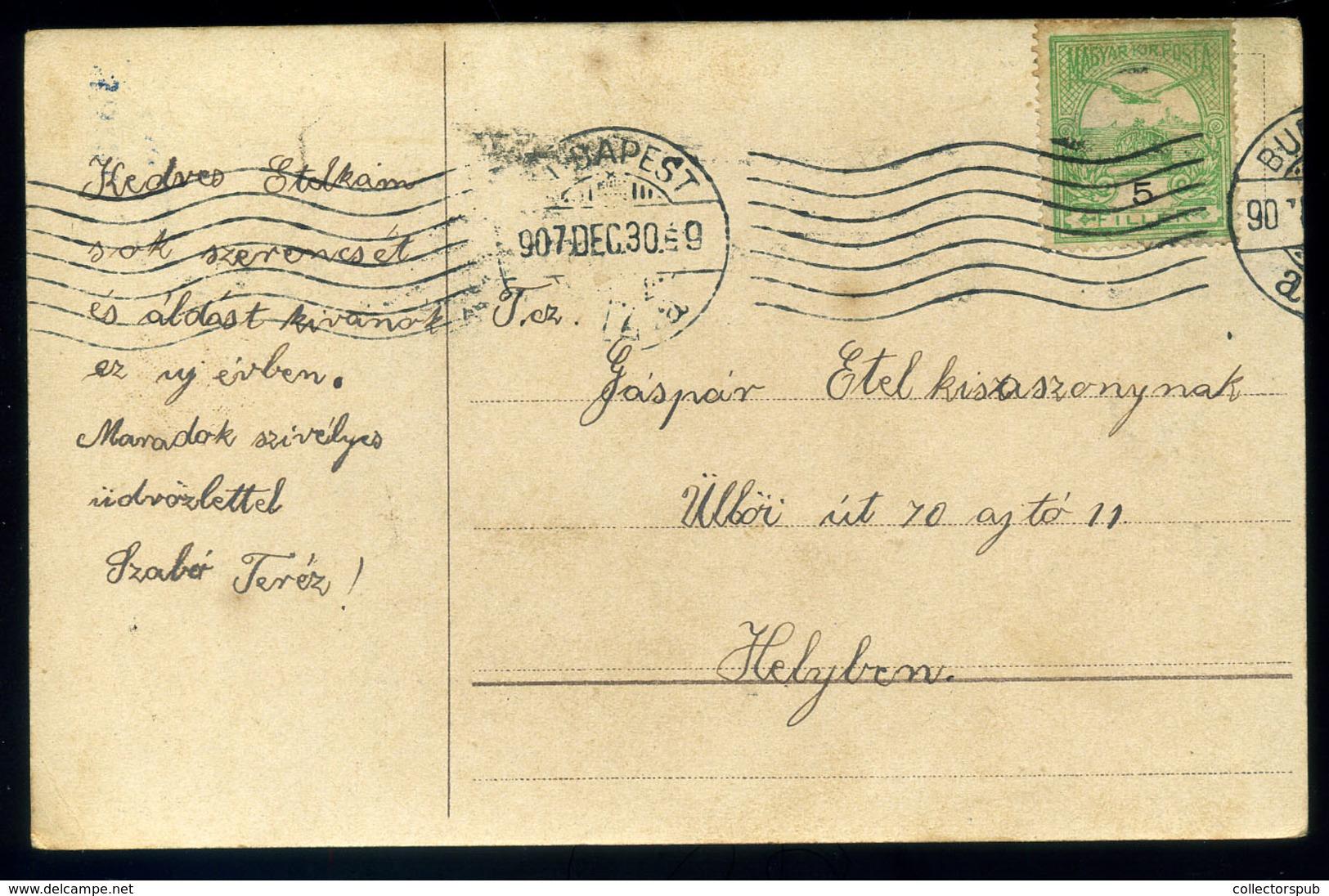 MALACOS üdvözlő Képeslap 1907.  /  PIG Greeting Vintage Pic. P.card - Pigs