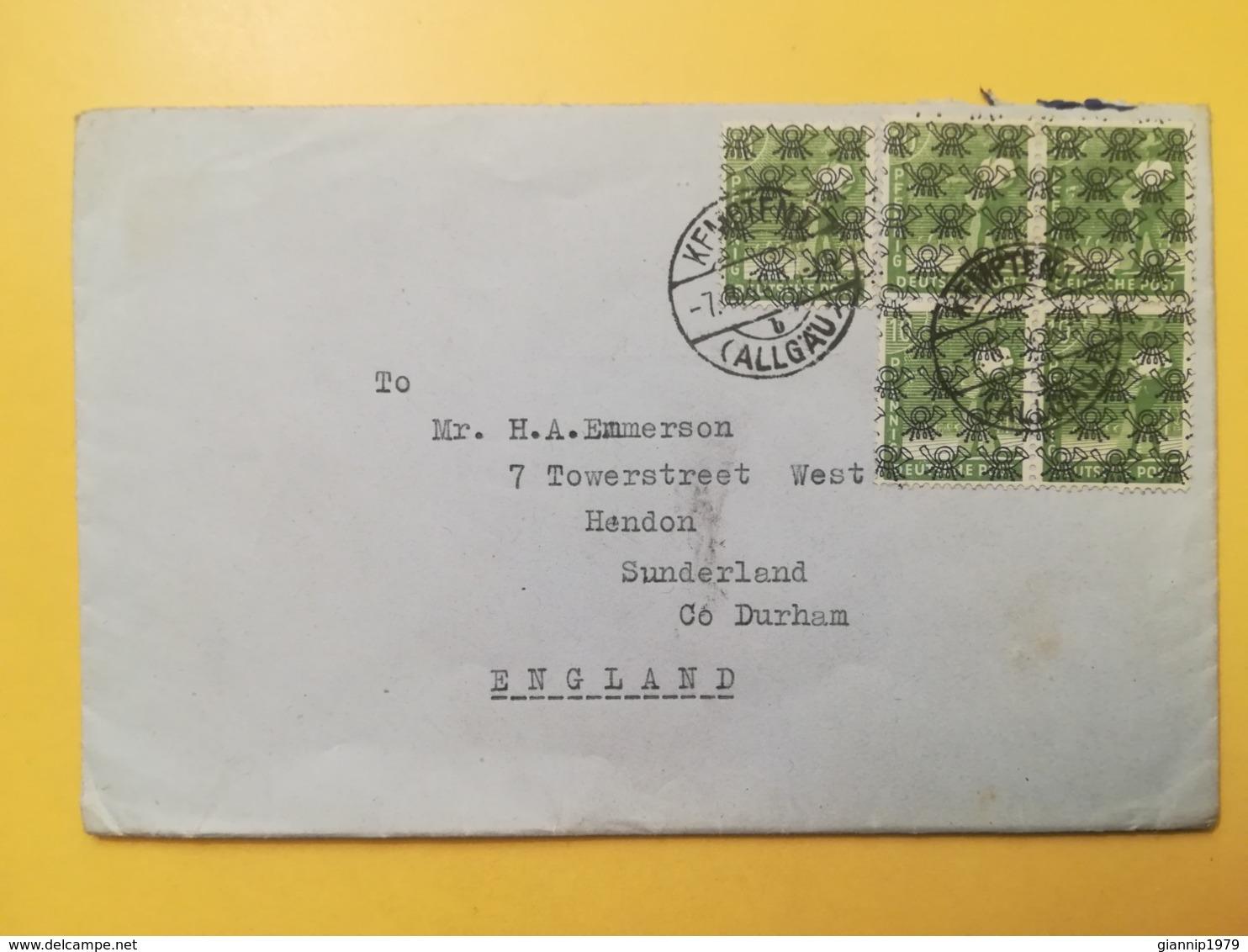1948 BUSTA GERMANIA DEUTSCHE OCCUPAZIONE BOLLO SOVRASTAMPATO OVERPRINTED CORNO POSTALE ANNULLO OBLITERE'  GERMANY - Bizone