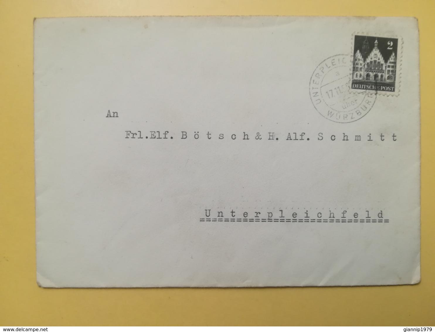 1950 BUSTA GERMANIA DEUTSCHE OCCUPAZIONE BOLLO GERMAN BUILDINGS ANNULLO OBLITERE' WURZBURG GERMANY - Bizone
