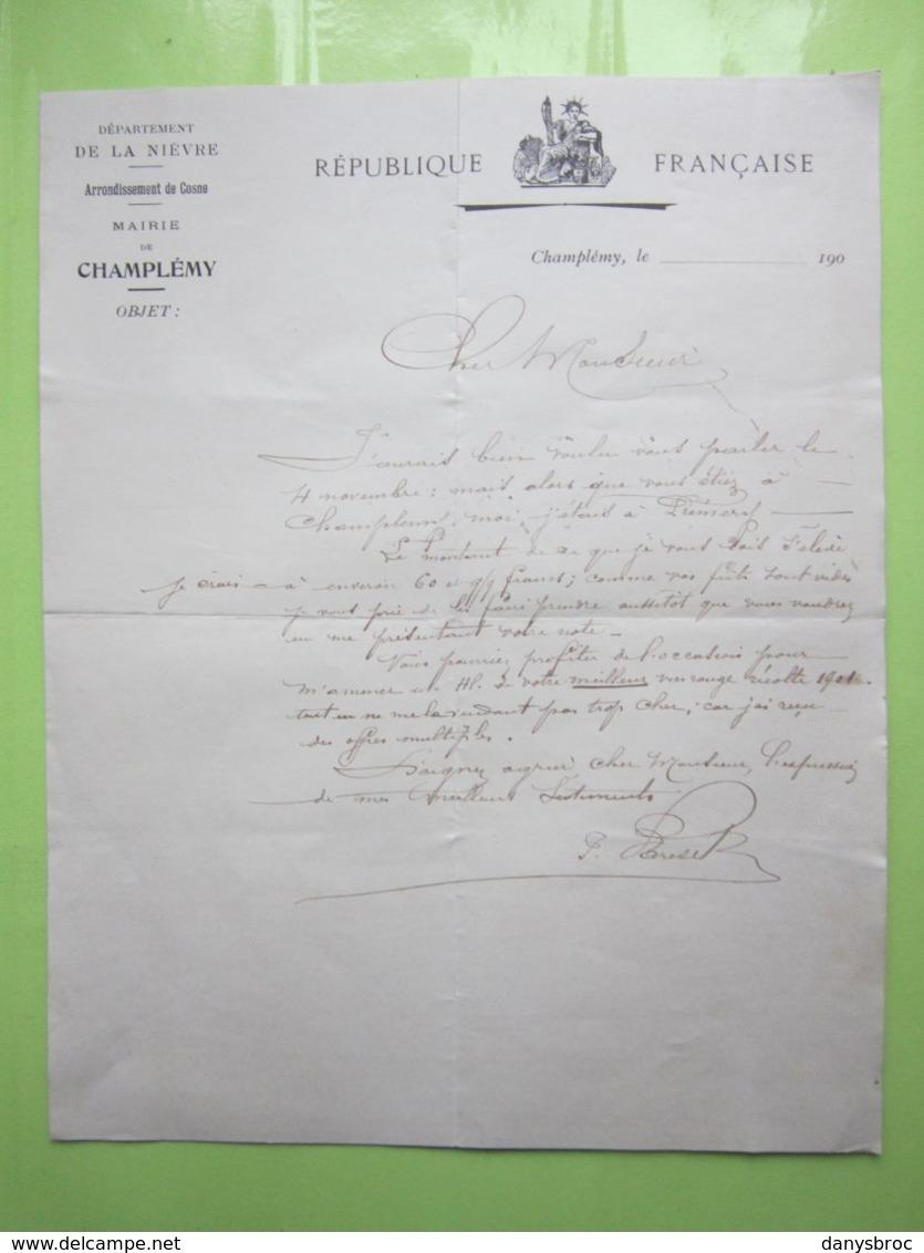 REPUBLIQUE FRANCAISE, Dpt De La Nièvre MAIRIE De CHAMPLEMY (58) Lettre De190?  Signé - Francia