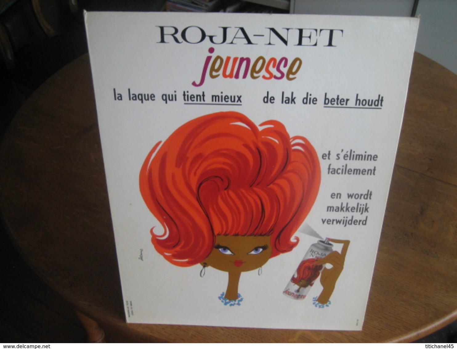 Carton Publicitaire Original 1963 - ROJA-NET Jeunesse La Laque Qui Tient Mieux & S'élimine Facilement. Illust: DELORME - Placas De Cartón