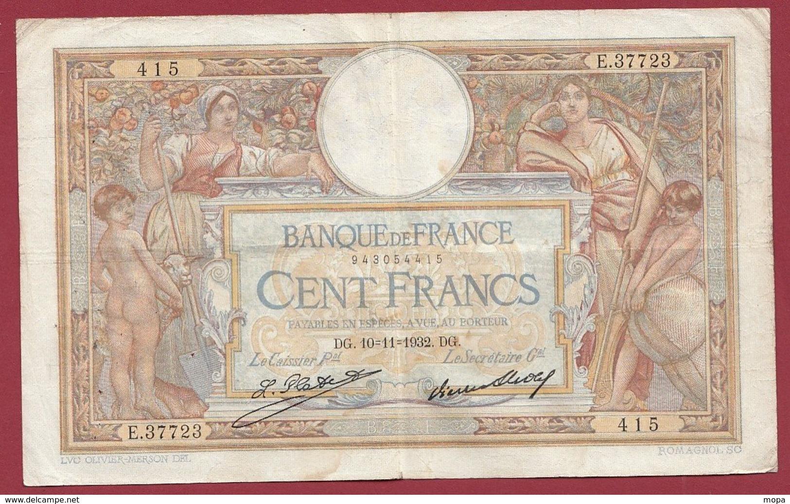 """100 Francs """"Luc Olivier Merson"""" Du 10/11/1932.DG----F/TTB+---ALPH .E.37723 - 1871-1952 Gedurende De XXste In Omloop"""