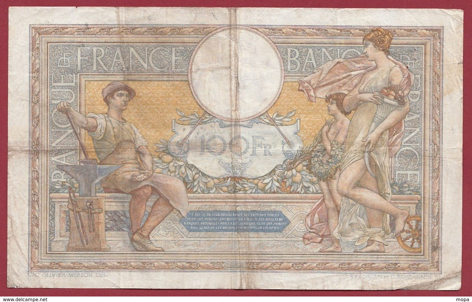 "100 Francs ""Luc Olivier Merson"" Du 01/03/1934.M.N----F/TTB+---ALPH .X.43753 - 1871-1952 Gedurende De XXste In Omloop"