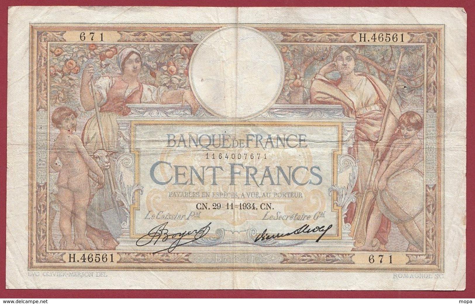 "100 Francs ""Luc Olivier Merson"" Du 29/11/1934.CN----F/TTB+---ALPH .H.46561 - 1871-1952 Gedurende De XXste In Omloop"