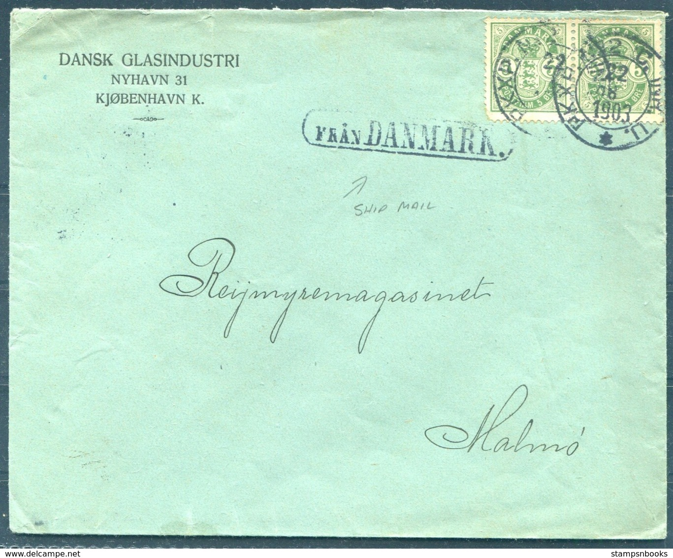 "1903 Denmark Dansk Glasindustri, Copenhagen Cover - Malmo Sweden. ""FRAN DANMARK"" Paquebot PKXP Railway TPO - 1864-04 (Christian IX)"