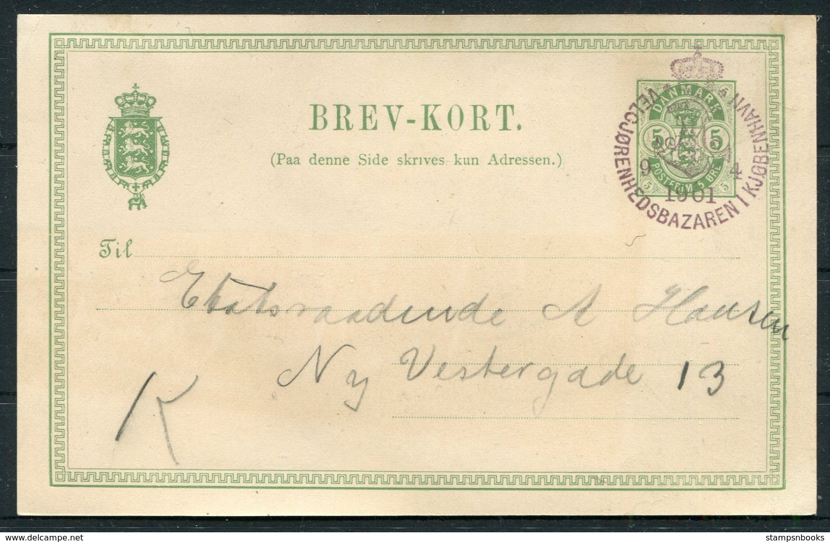 5 øre Illustreret Helsagsbrevkort Annulleret Med Særstempel Velgjørenhedsbazaren I Kjøbenhavn D. 9.4.1901. - 1864-04 (Christian IX)