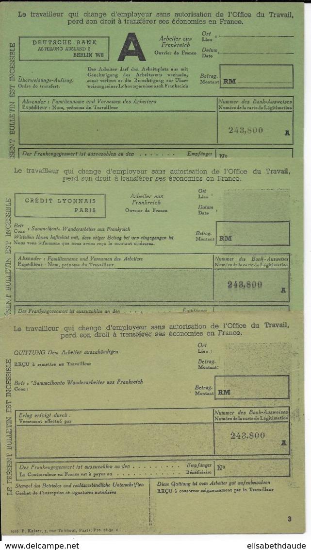 1940/45 - MANDAT TRANSFERT En FRANCE Pour TRAVAILLEURS FRANCAIS EN ALLEMAGNE - STO - Marcophilie (Lettres)