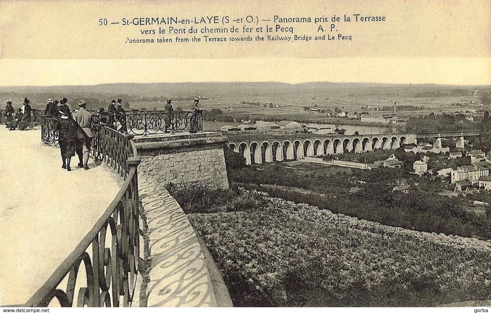 *CPA - 78 - SAINT GERMAIN En LAYE - Panorama Pris De La Terrasse - Pont De Chemin De Fer - Animée - St. Germain En Laye