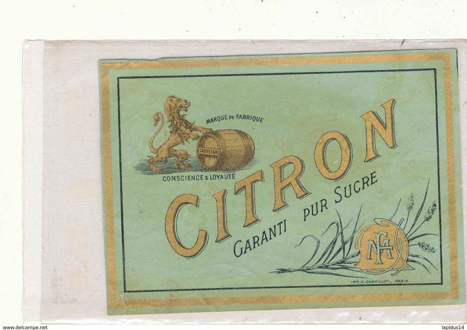 AN 586 / ETIQUETTE   CITRON GARANTI  PUR . SUCRE M F - Labels