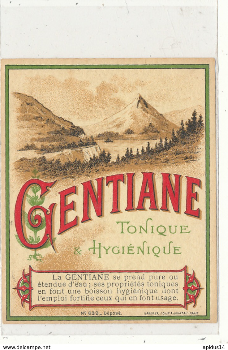 AN 571 / ETIQUETTE      GENTIANE  TONIQUE HYGIENIQUE - Labels