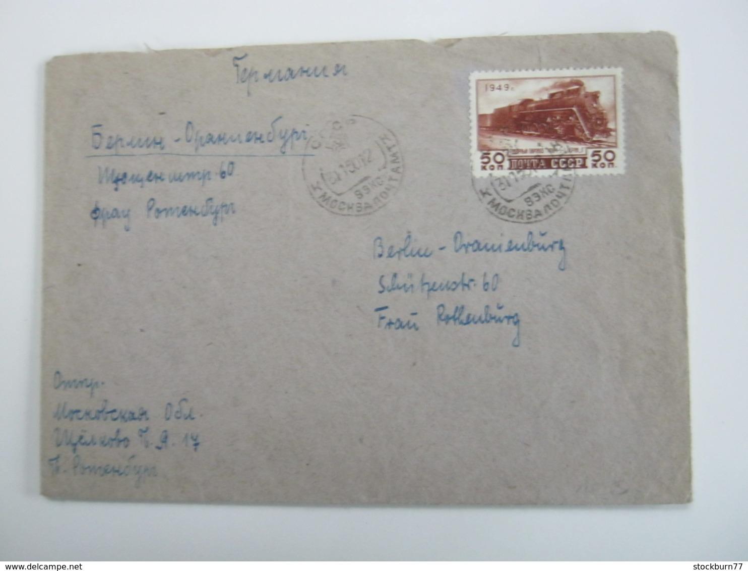1950 , 50 Kop. Eisenbahn Auf Brief Nach Deutschland - Covers & Documents