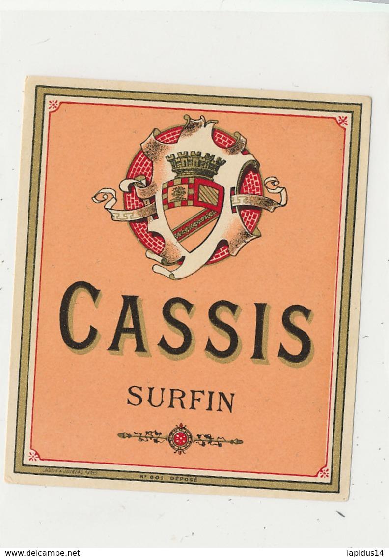 AN 606 / ETIQUETTE  CASSIS  SURFIN - Etiquettes