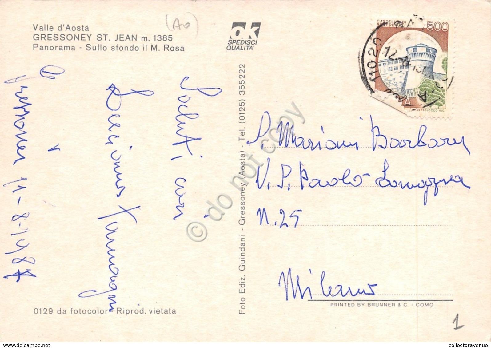 Cartolina Gressoney St. Jean Panorama 1987 - Italy