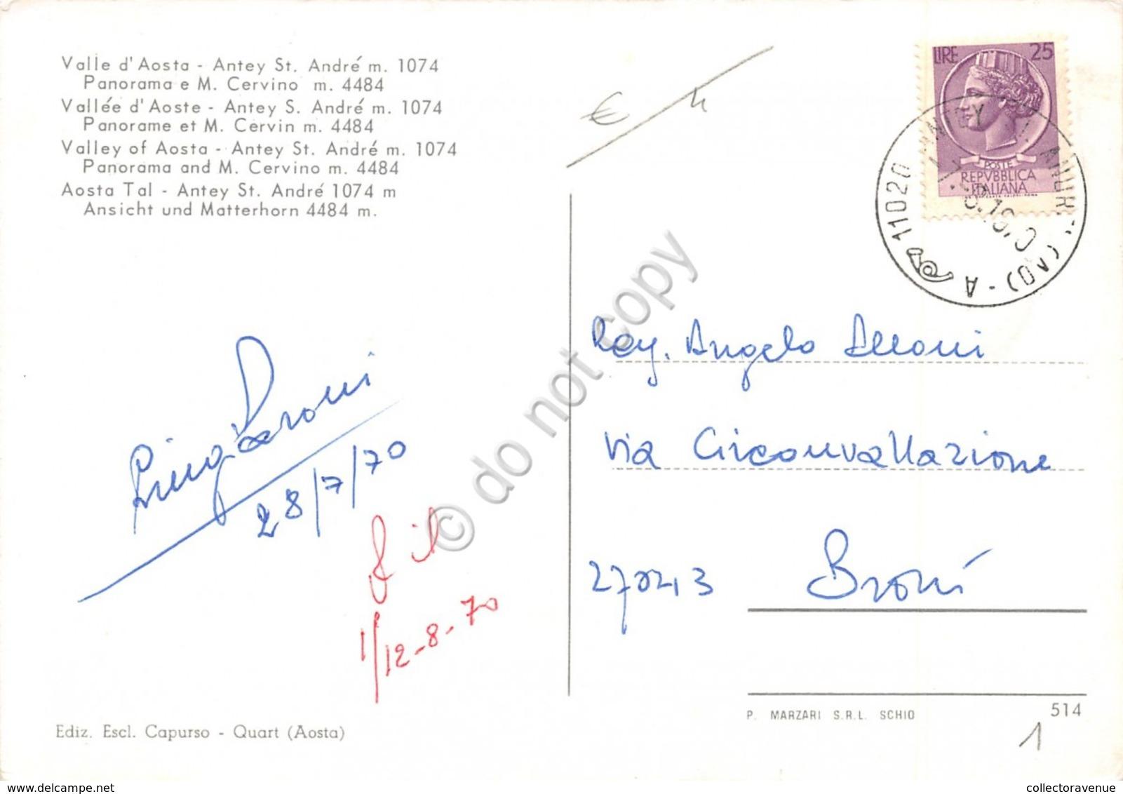 Cartolina Antey St. Andre Panorama E Cervino 1970 - Unclassified