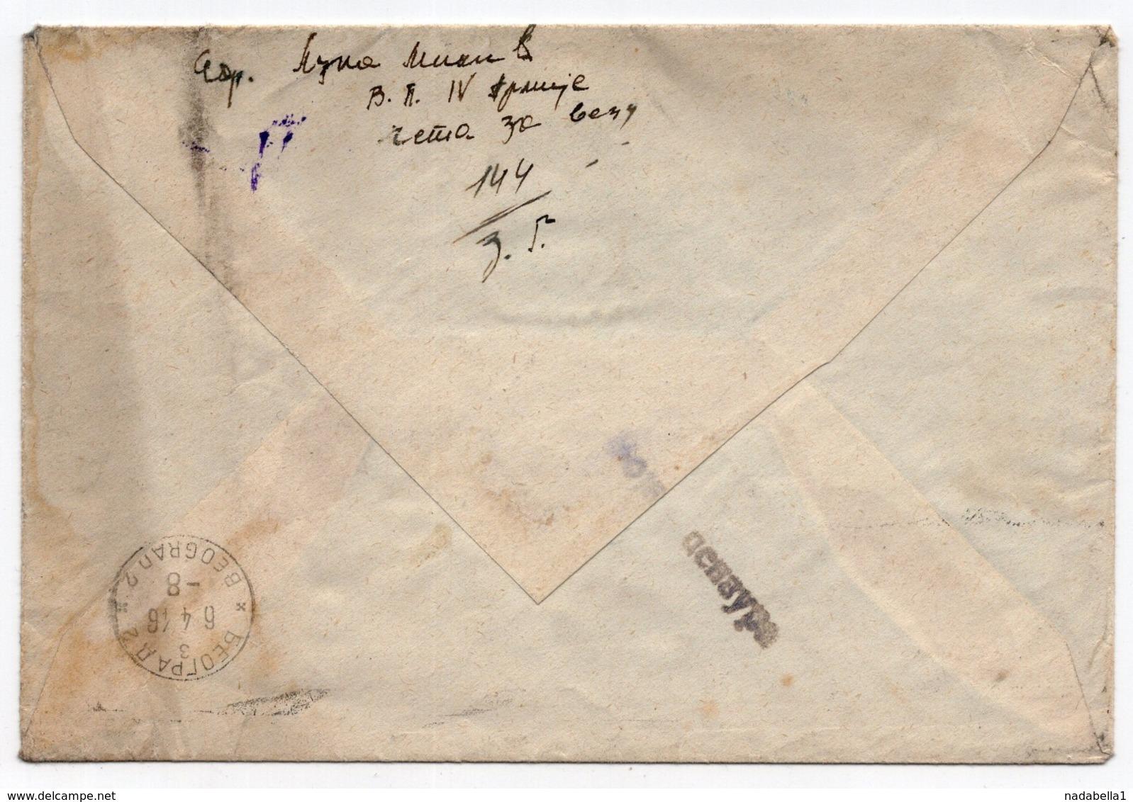 06.04.1946 YUGOSLAVIA, MILITARY MAIL, TO BELGRADE, SERBIA, CENSORED NO 144 - 1945-1992 Repubblica Socialista Federale Di Jugoslavia