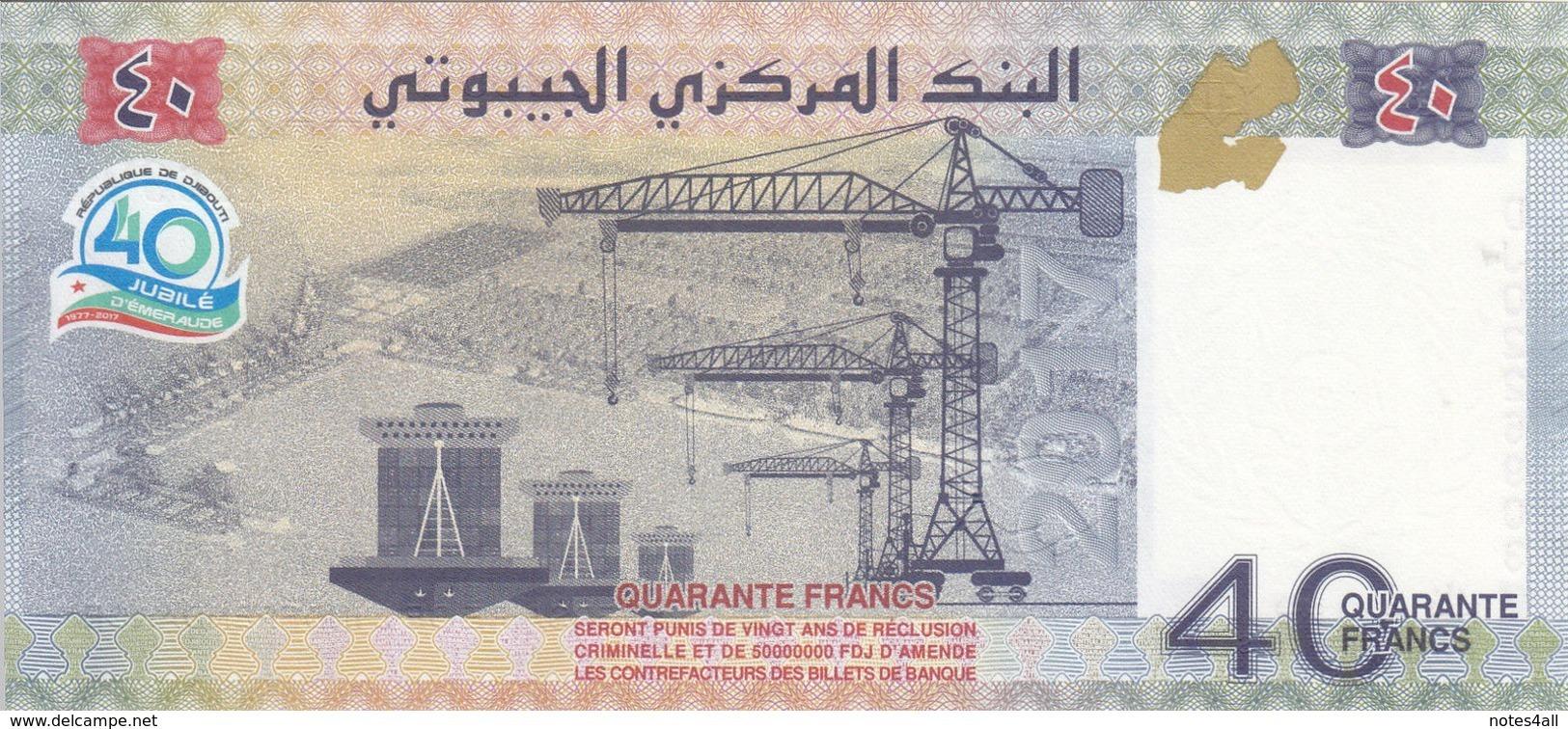 DJIBOUTI 40 FRANCS 2017 P-new 40th INDEPENDENCE COMMEMORATIVE LOT X5 UNC NOTES - Djibouti