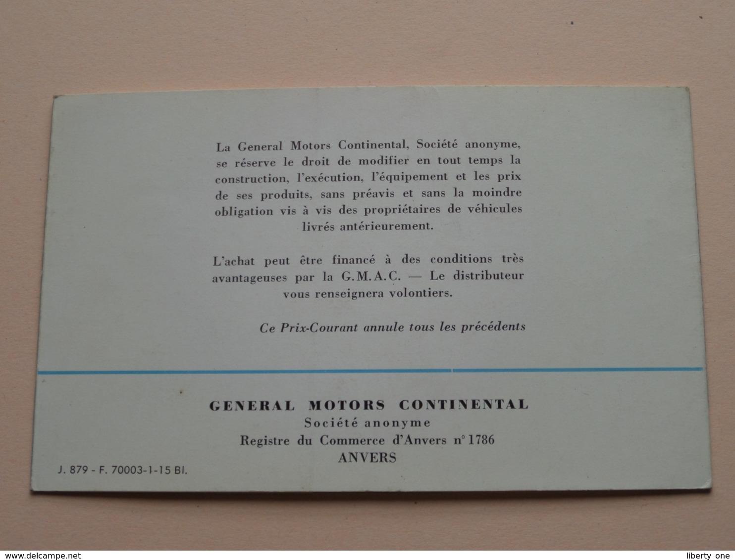 "OLDSMOBILE "" Rocket "" Prix-Courant > GM General Motors Anvers >1953 ( Voir / See Photo ) Depliant / Prijsfolder ! - Publicités"